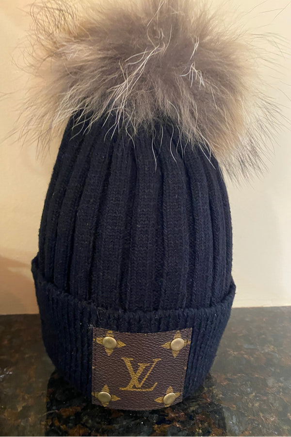 Up-Cycled Louis Vuitton Fur Pom Beanie