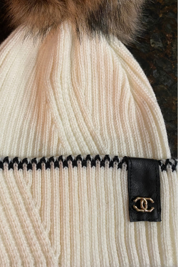 Up-Cycled Chanel Detail Pom Beanie