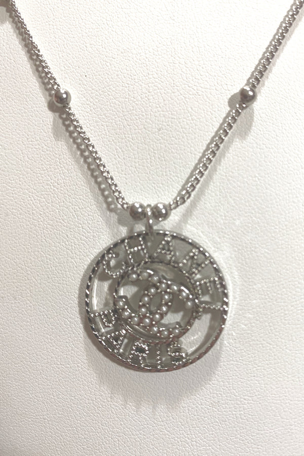 Up-Cycled Chanel Paris Silver Button Pendant