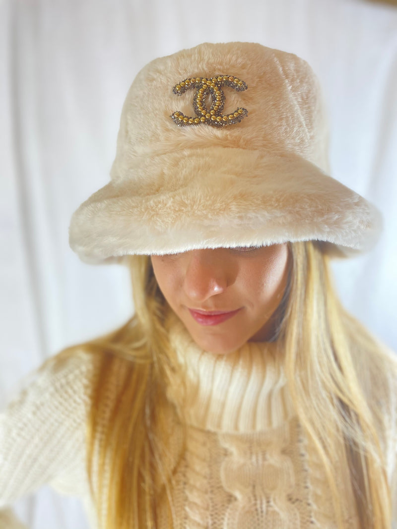 Chanel Inspired Bucket Hat In Faux Fur - Embellish Your Life