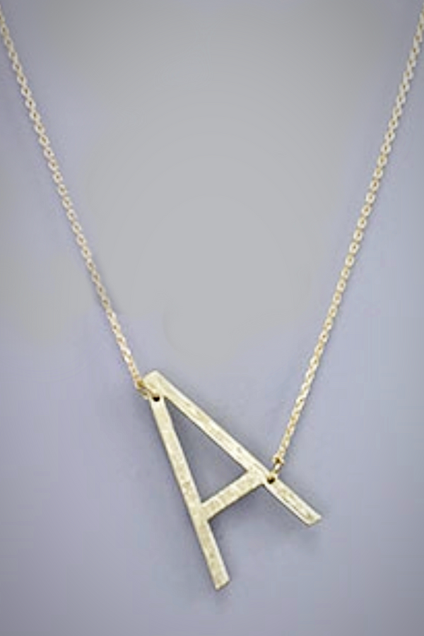 Tilted Initial Necklace - Embellish Your Life