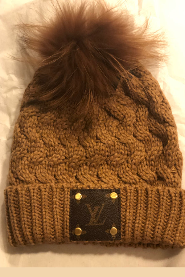 Louis Vuitton Logo Knit Hat with Real Fur