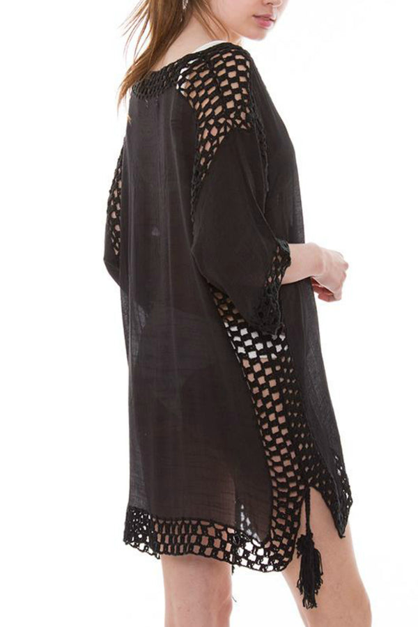 Black Crochet Cover-Up - Embellish Your Life