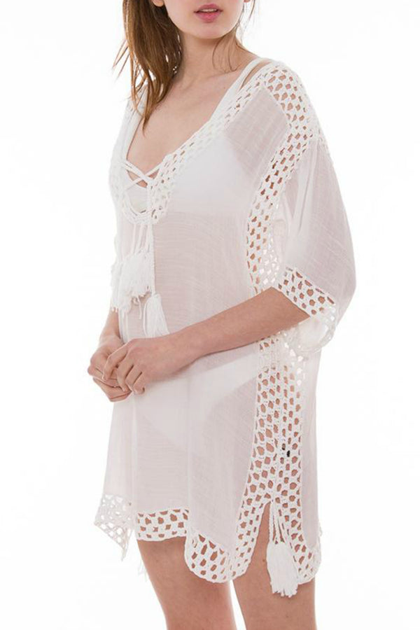 White Crochet Cover-Up - Embellish Your Life