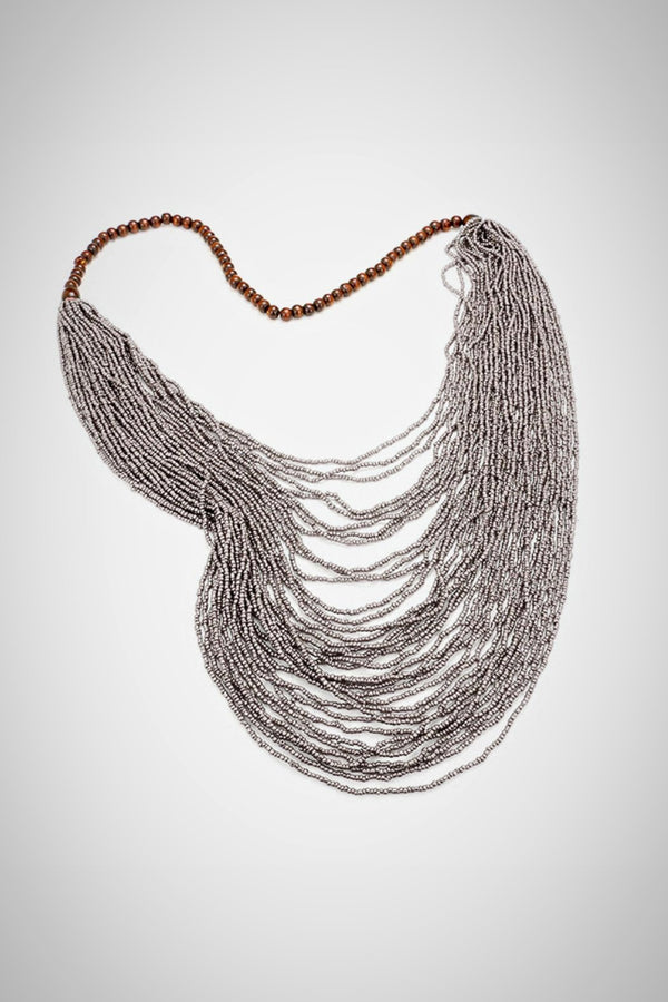 Wooden Gray Beaded Necklace