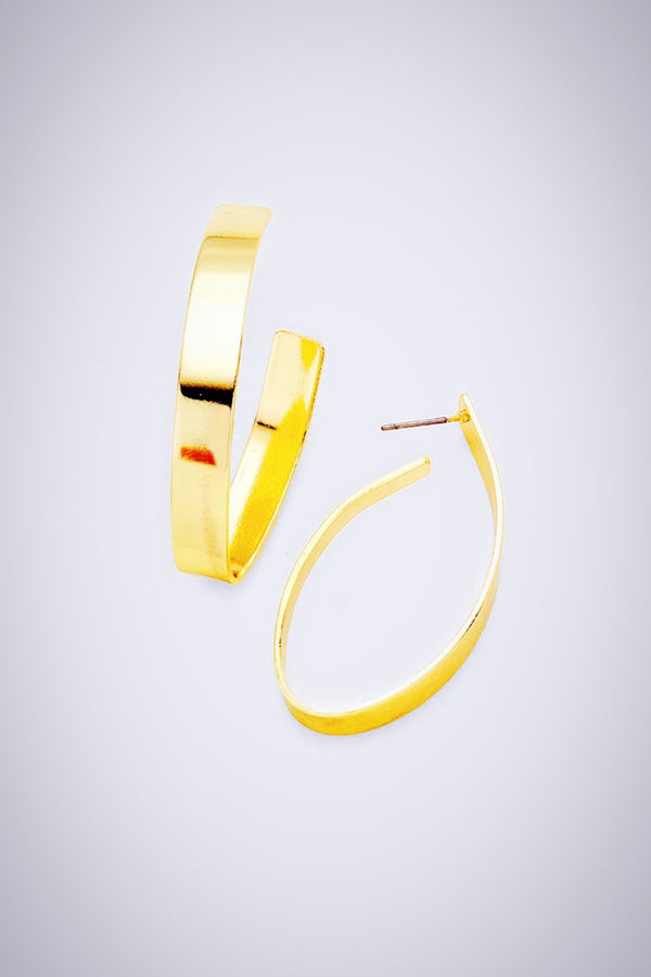 Abstract Gold Hoop Earrings