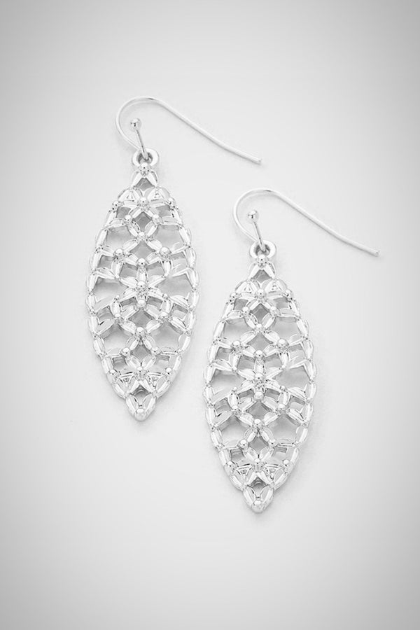 Marquis Mesh Silver Earrings