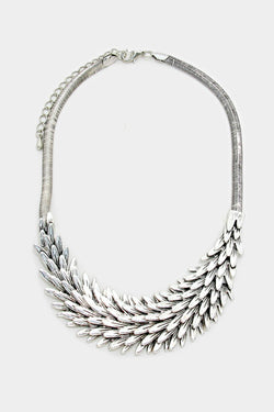 Antique Silver Feathered Necklace
