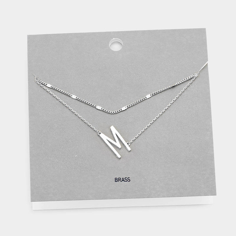 Double Strand Tilted Initial Necklace - Embellish Your Life