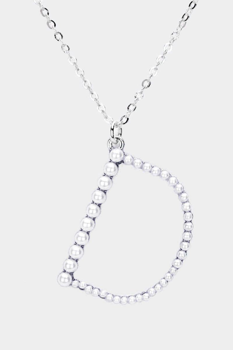 Silver and Pearl Initial Necklace