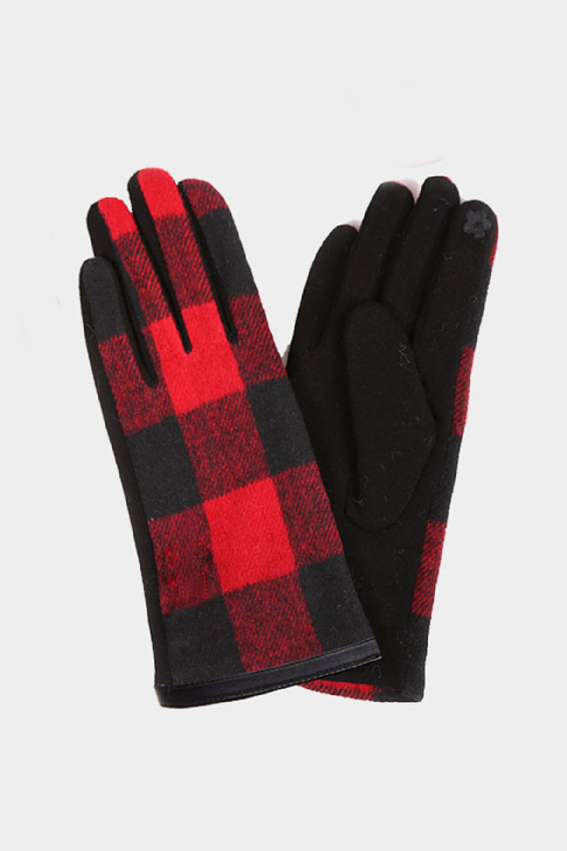 Buffalo Check Texting Gloves - Embellish Your Life
