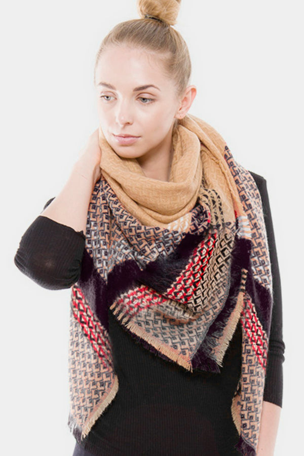 Beige Plaid Blanket Scarf - Embellish Your Life