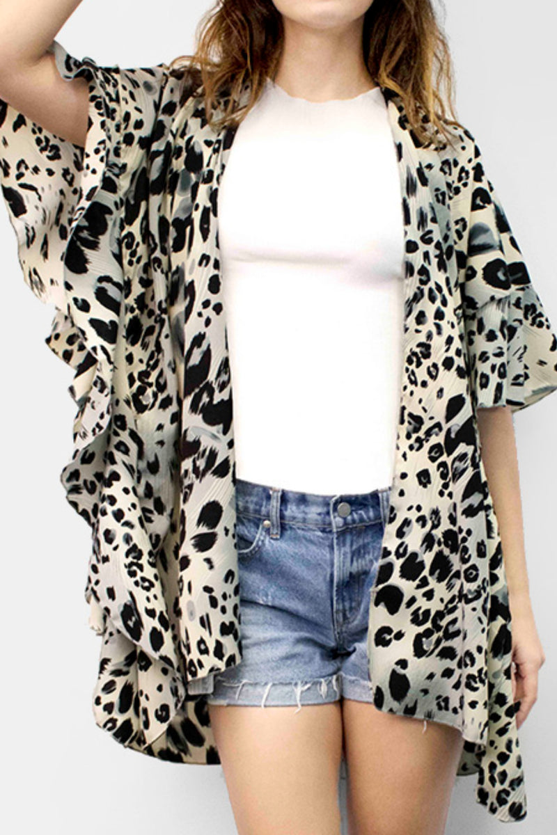 Leopard Ruffle Cover Up