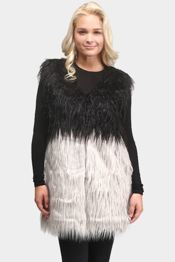 Two Tone Faux Fur Vest
