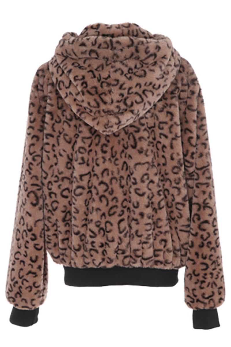 Faux Fur Leopard Hoodie - Embellish Your Life