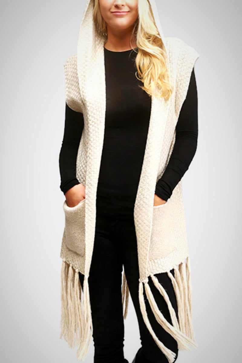 Fringy Hoodie Vest - Embellish Your Life