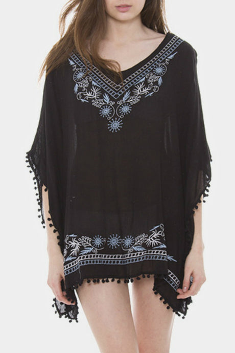 Black Embroidered Pom Poncho
