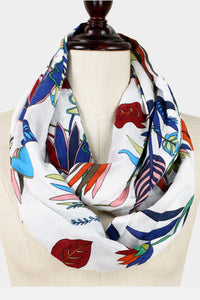 White Botanical Scarf
