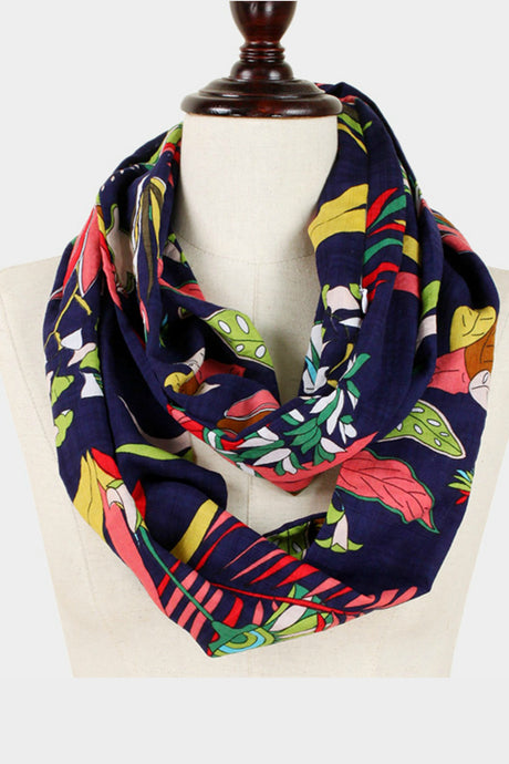 Navy Botanical Scarf