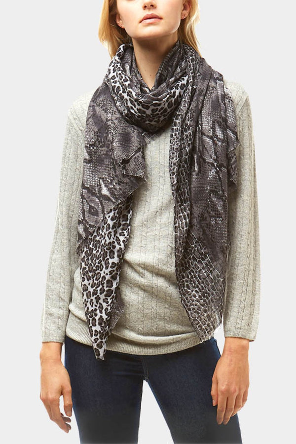 Snake Skin and Leopard Print Scarf
