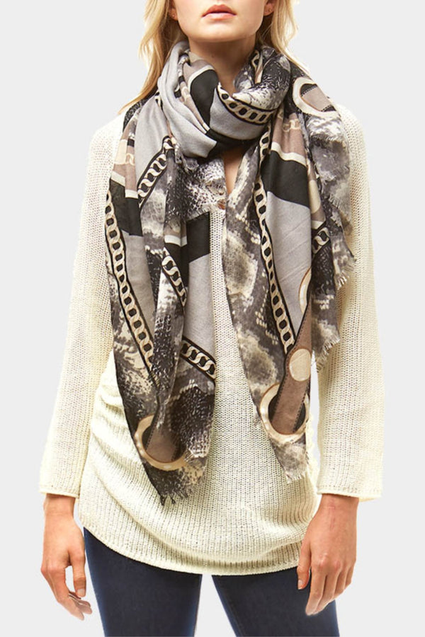Snake Skin and Chain Scarf