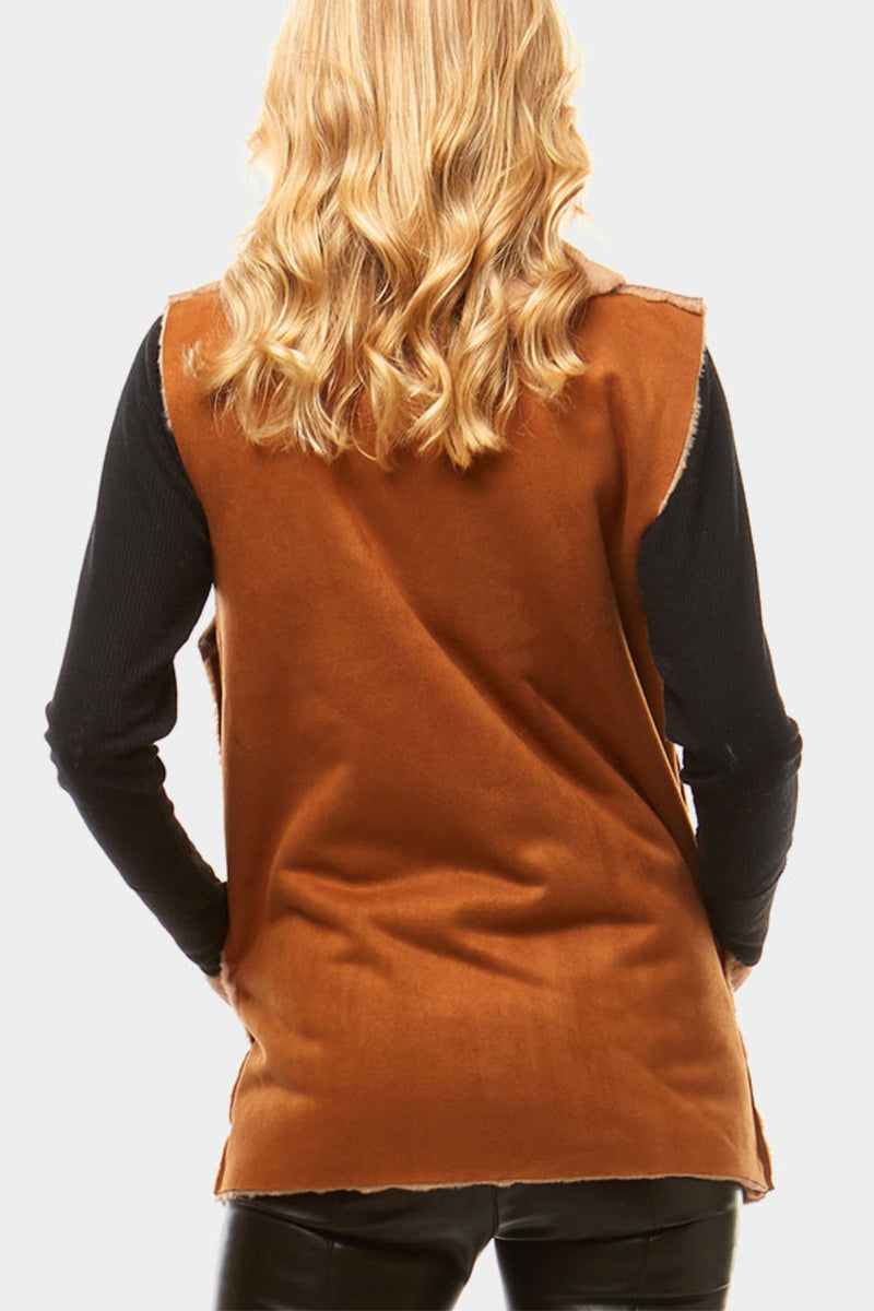 Vegan Suede and Faux Fur Lined Vest