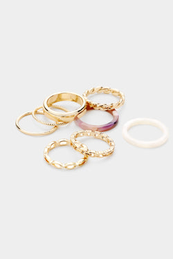 Set of 8 Gold Rings - Embellish Your Life