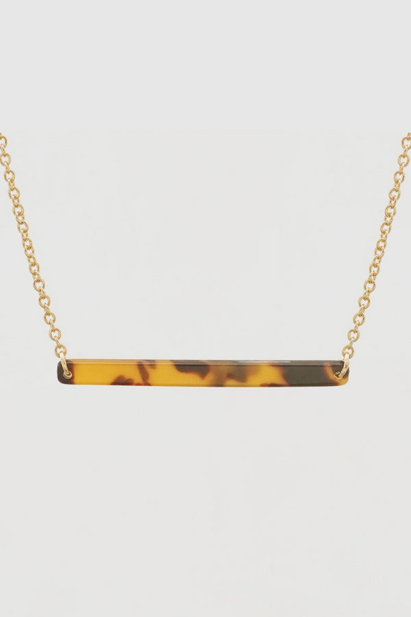 Tortoise Shell Bar Necklace