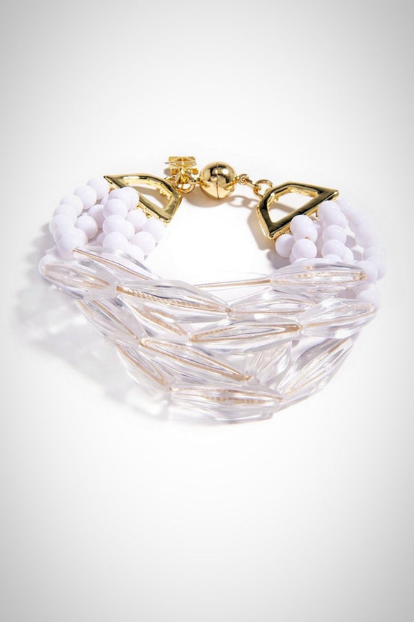 Lucite and White Bead Bracelet