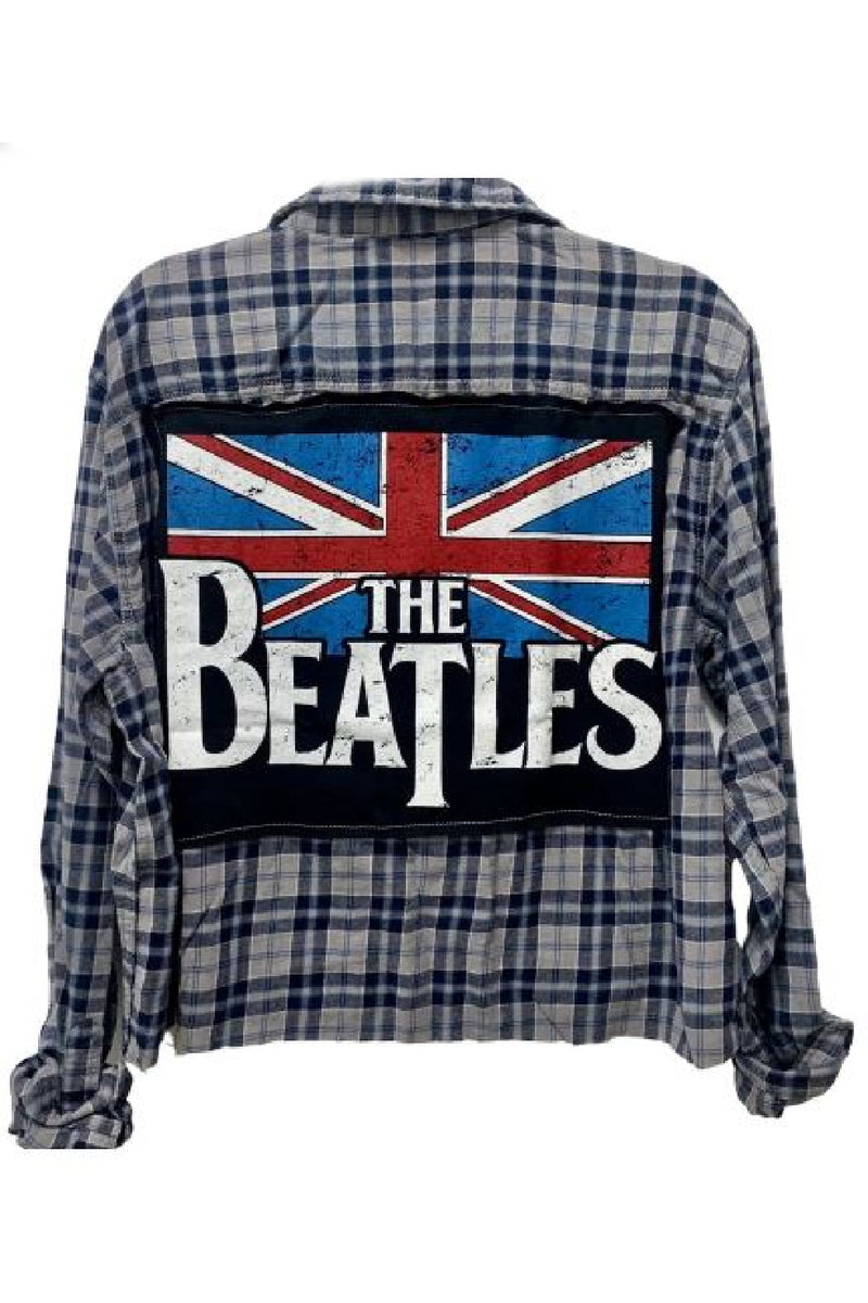 Beatles Flag Plaid Flannel Shirt - Embellish Your Life