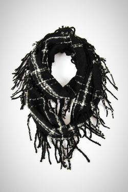 Black and White Fringe Infinity Scarf