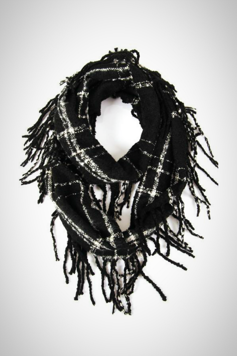 Black and White Fringe Infinity Scarf - Embellish Your Life
