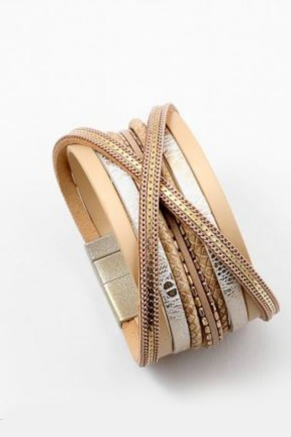 Leather Metallic Bracelet