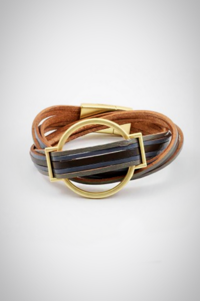 Slate Leather Magnetic Bracelet - Embellish Your Life