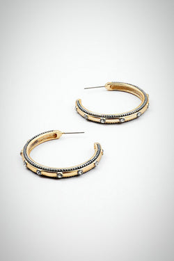 Classic hoop earrings, with cubic zirconias, cz earrings, cz hoops, post back