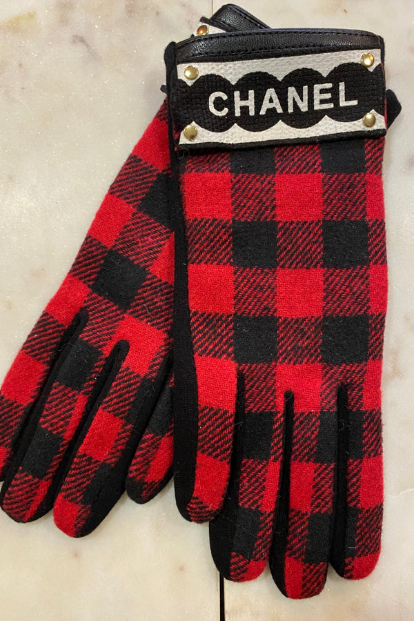 Up-Cycled Chanel Inspired Buffalo Check Gloves