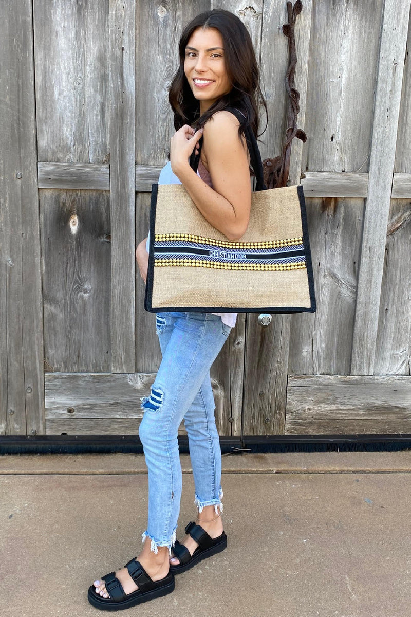 CD Inspired Up-Cycled Burlap Tote Bag - Embellish Your Life