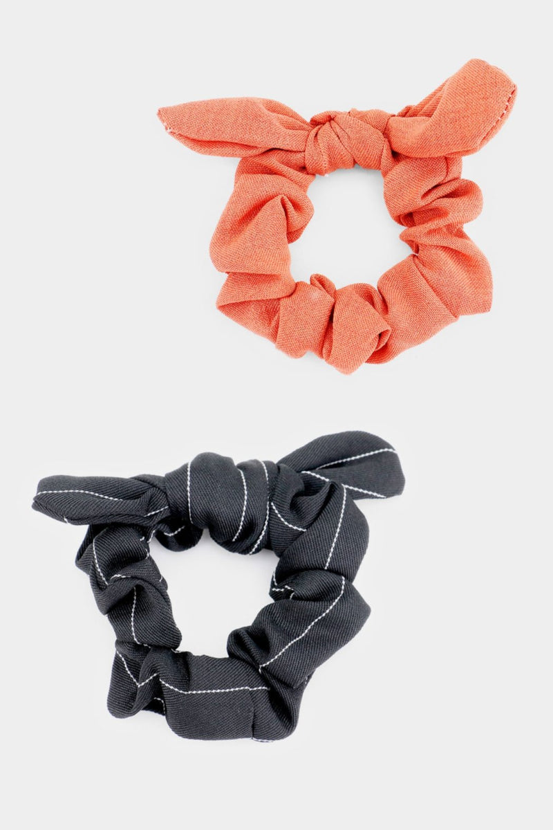 Coral and Black Pinstripe Scrunchie Set