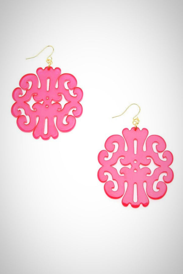 Round Damask Swirl Earrings