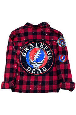 Grateful Dead Plaid Flannel Shirt - Embellish Your Life