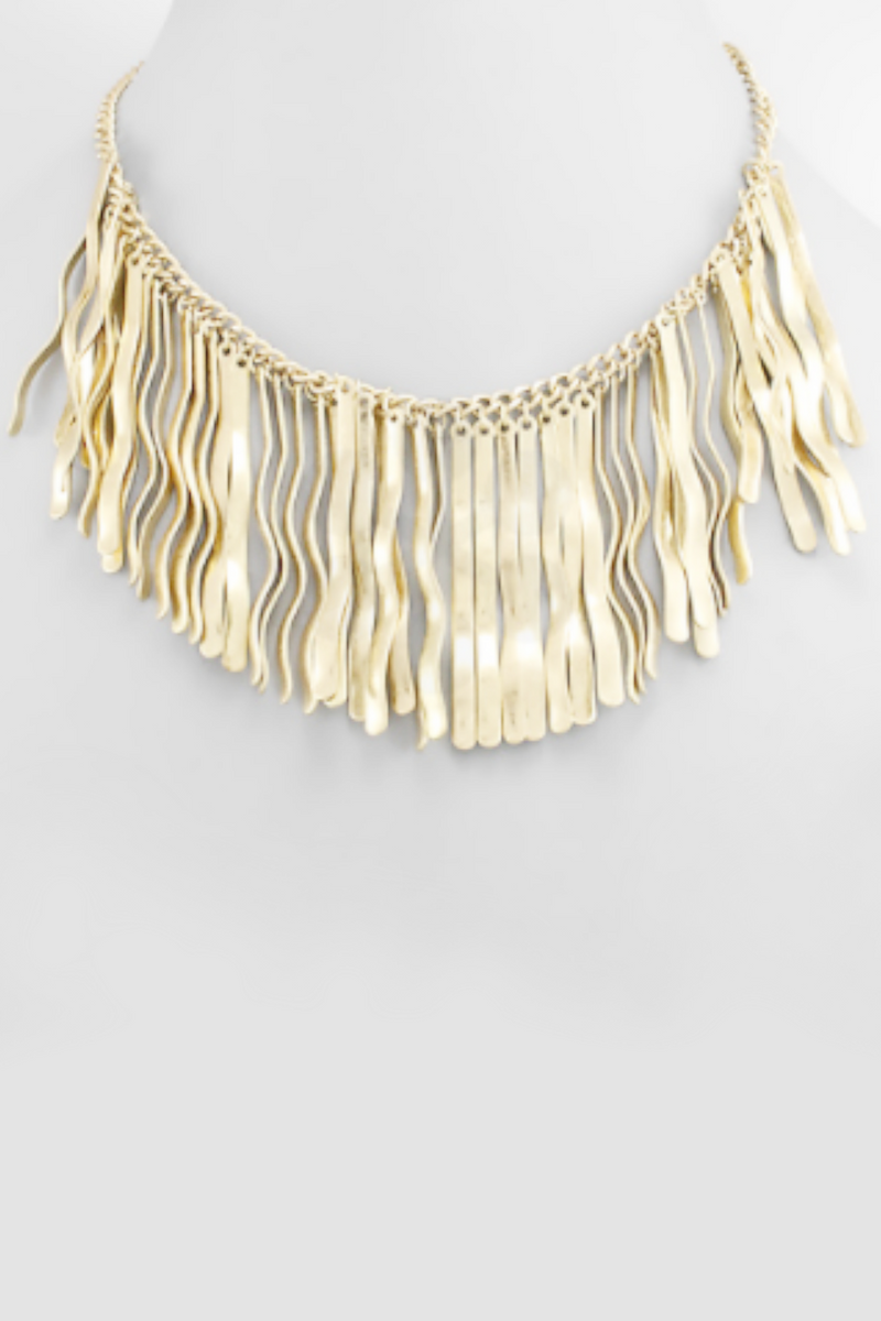 Burnished Gold Fringe Necklace