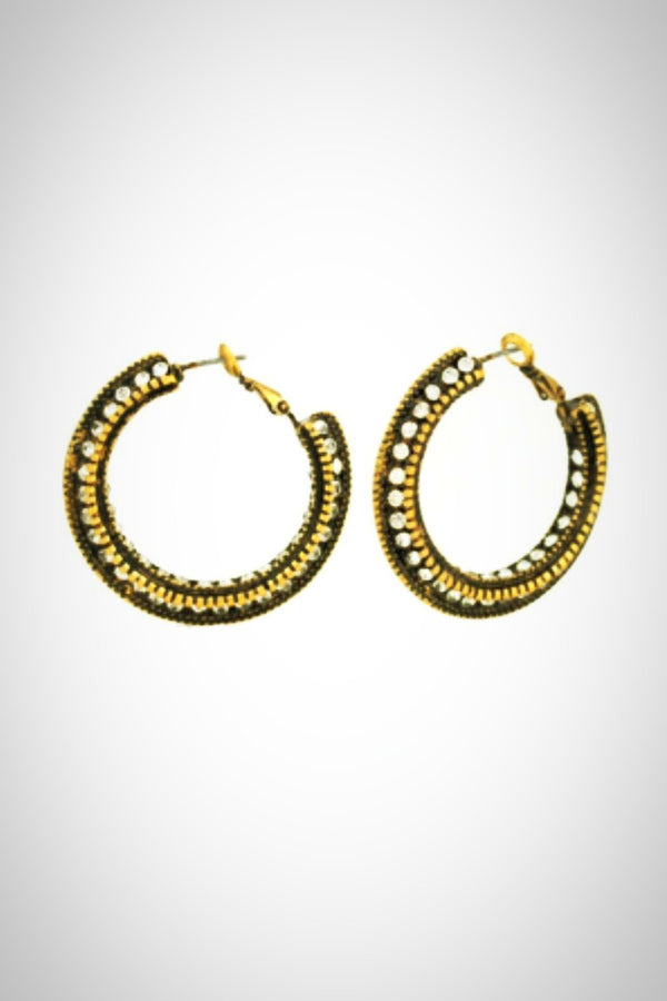Antique Hoop Sparkle Earrings