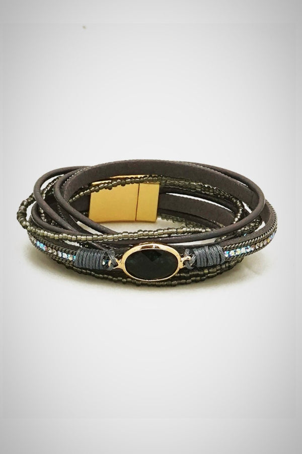 Gray Leather Bracelet - Embellish Your Life
