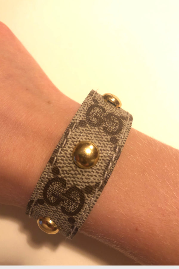 Studded Up-Cycled Gucci Cuff