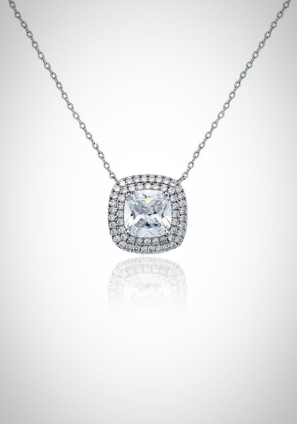 CZ Cushion Pendant Necklace