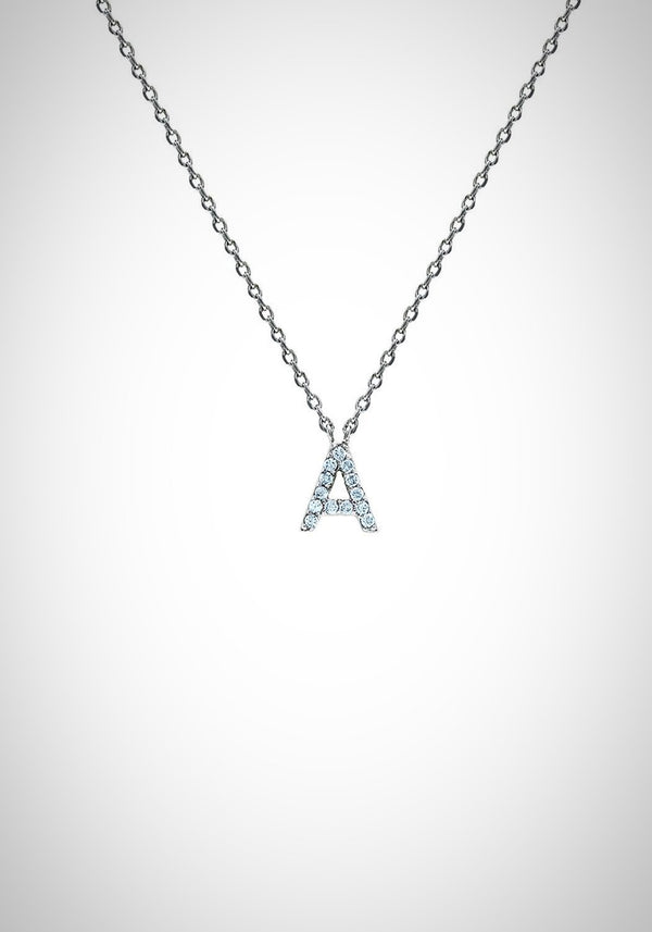 Block CZ Initial Necklace