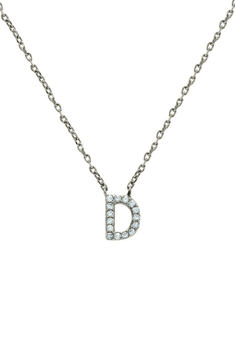 Block CZ Initial Necklace - Embellish Your Life