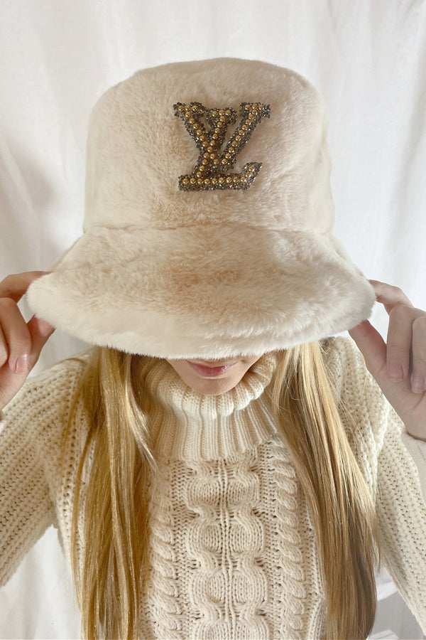 Louis Vuitton Inspired Bucket Hat In Faux Fur - Embellish Your Life