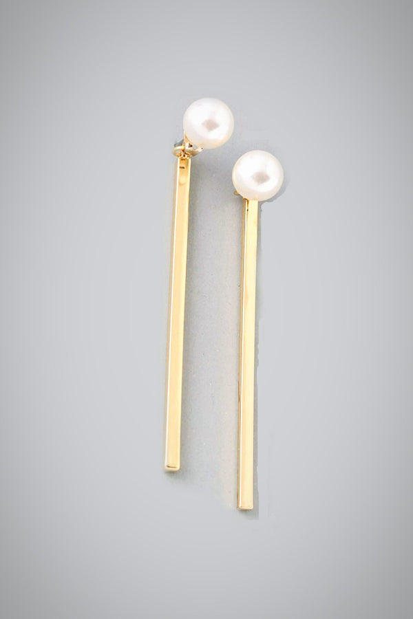Golden Bar Pearl Earrings