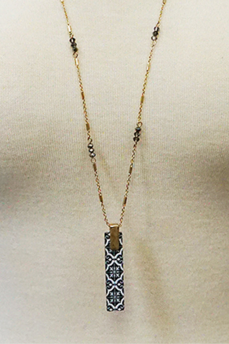 Printed Wood Bar Necklace